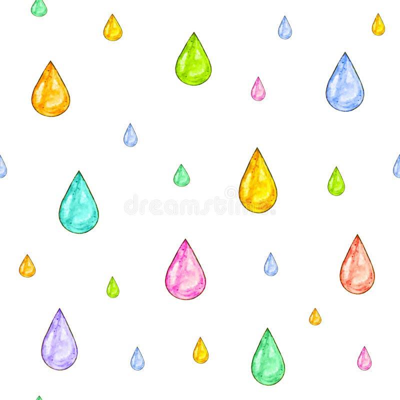 Chuva iridescente O grupo de cor deixa cair para o projeto em um fundo branco Desenho da aguarela Handwork Teste padrão sem emend ilustração royalty free