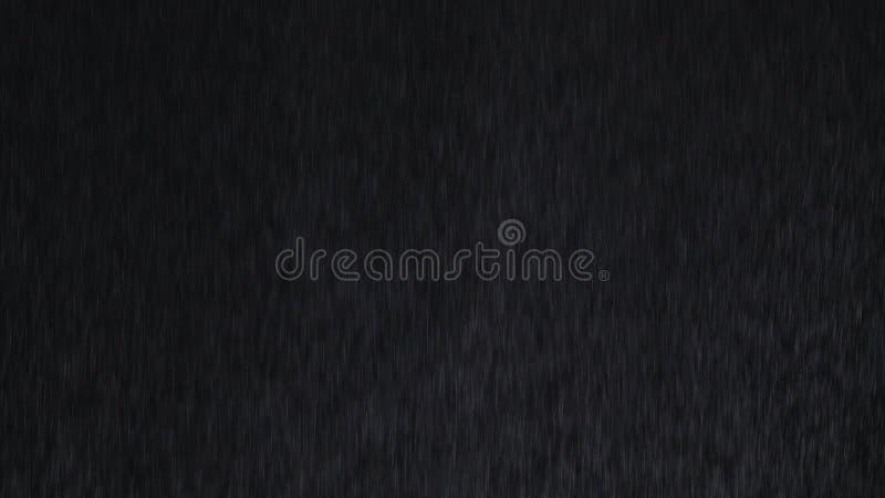 chuva 4k angular pesada que cai na frente da c?mera contra a tela preta Espirro dos pingos de chuva Inser??o do vfx do close up d fotografia de stock