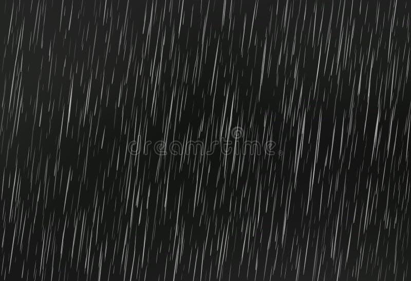Chuva no preto Textura da chuva do vetor Fundo abstrato do vetor ilustração do vetor