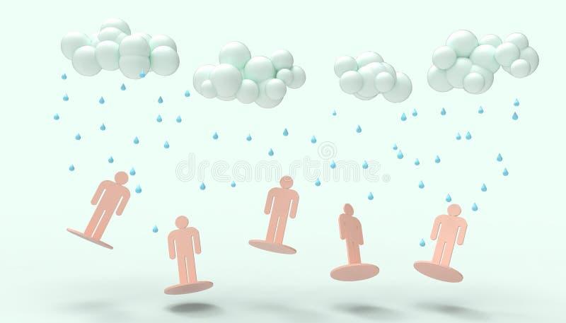 A chuva nubla-se a arte moderna mínima monocromática e dos povos do símbolo do rosa do conceito e para colar o fundo azul ilustração royalty free