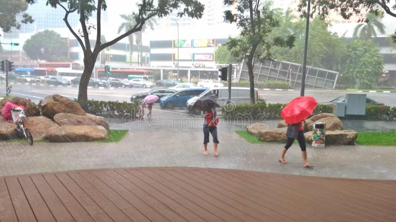 Chuva pesada em Singapura fotografia de stock
