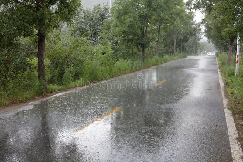 Chuva pesada na estrada, adôbe rgb imagem de stock