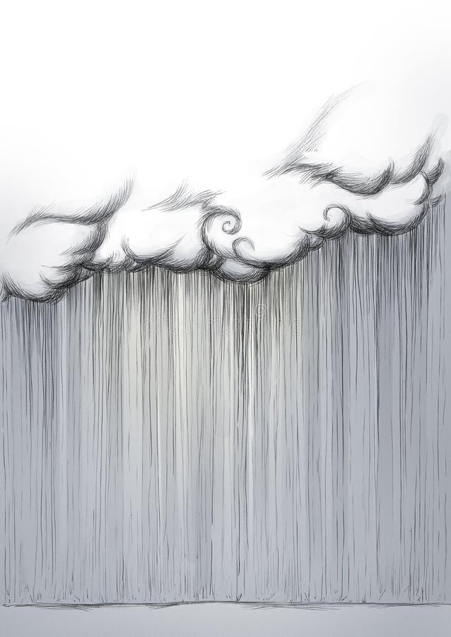 Chuva pesada que sai de uma nuvem ilustração do vetor