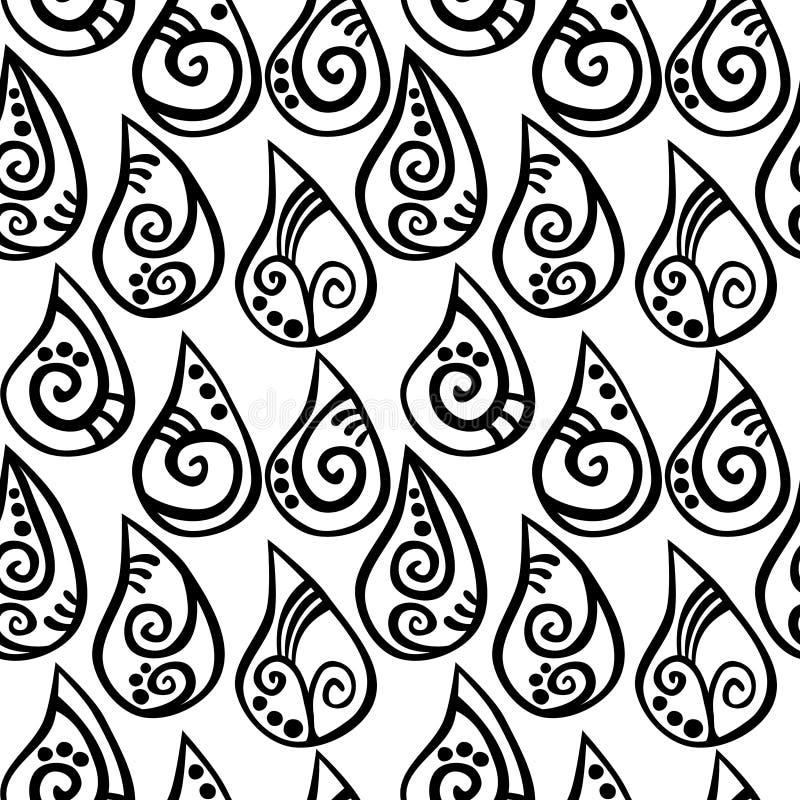 A chuva sem emenda deixa cair o fundo da tatuagem ilustração do vetor