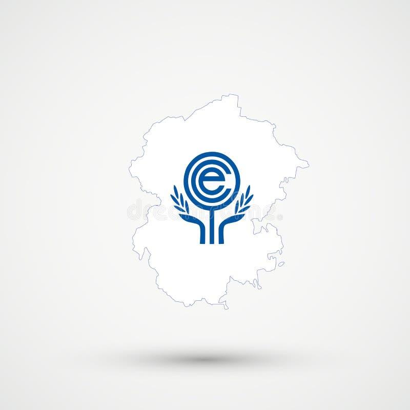 Chuvashia översikt i färger för flagga för organisation för ekonomiskt samarbete ECO, redigerbar vektor royaltyfri illustrationer