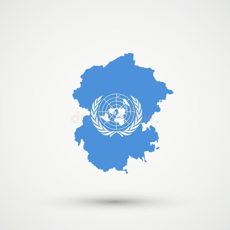 Chuvashia kartografuje w Narody Zjednoczone flagi kolorach, editable wektor ilustracja wektor