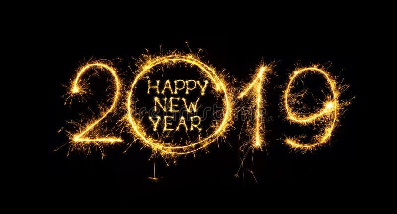 Chuveirinhos escritos do ano novo feliz 2019 no fundo preto ilustração do vetor