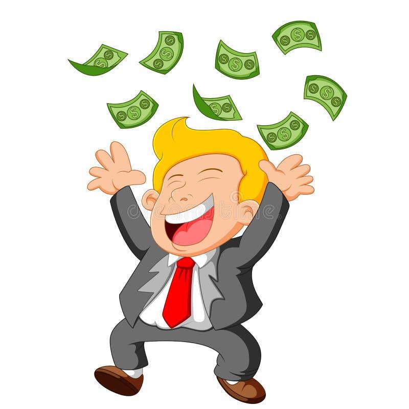Chuveiro chovendo de queda inferior feliz do dinheiro do homem de negócios ilustração royalty free