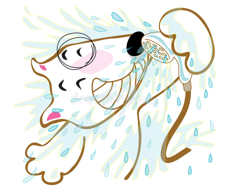 Chuveiro de bull terrier do cão ilustração do vetor