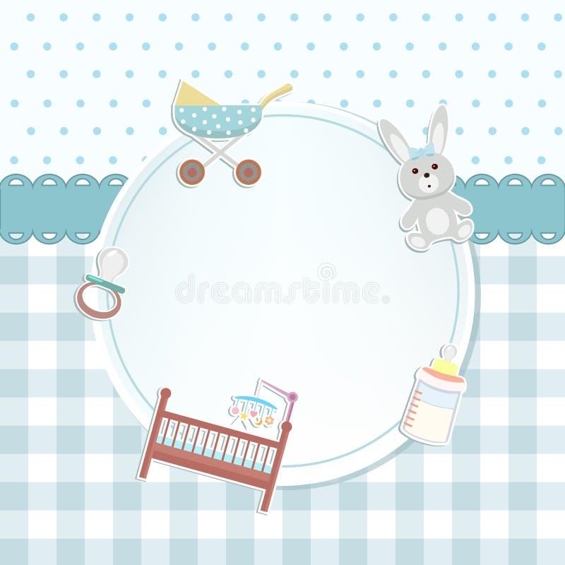 Chuveiro do bebê ou cartão de chegada com um pram, brinquedo do coelho, garrafa ilustração royalty free