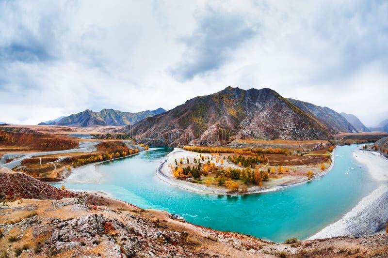 Chuya和Katun河的合流在阿尔泰,俄罗斯 免版税库存图片