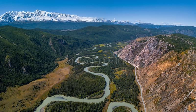 Chuya河的空中全景  图库摄影