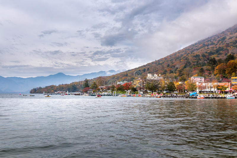 Chuzenji lake in Nikko. Chuzenji lake in autumn, Nikko, Japan royalty free stock images