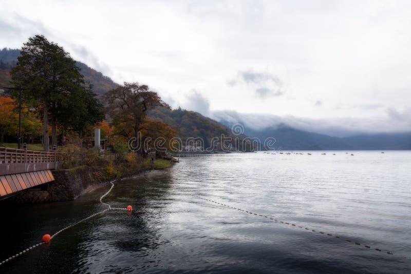 Chuzenji lake in Nikko. Chuzenji lake in autumn, Nikko, Japan stock photo