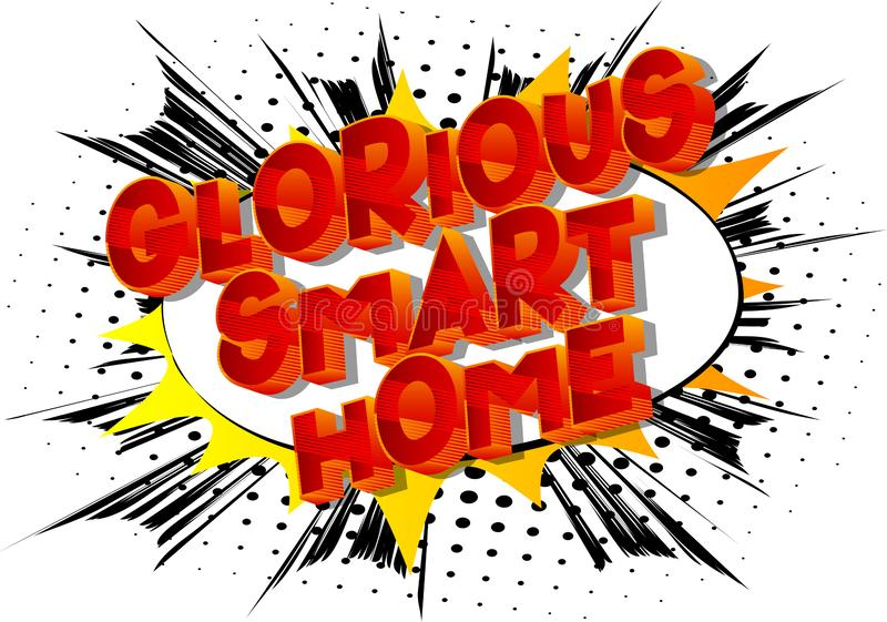 Chwalebnie smart home - komiksu stylu słowa royalty ilustracja