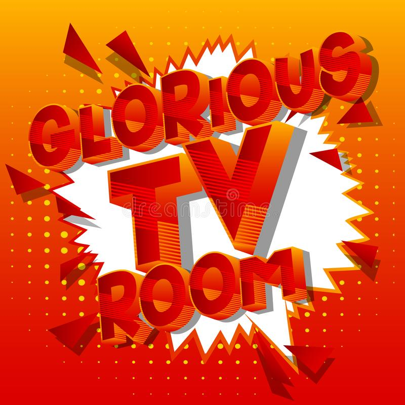 Chwalebnie TV pokój - komiksu stylu słowa ilustracji