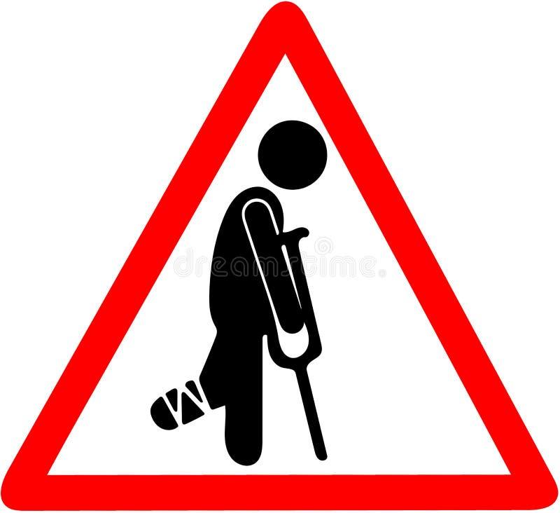 Chwilowo zdradzony mężczyzna ostrzega czerwonego trójboka drogowego znaka odizolowywającego na bielu w bandażu z szczudłami ilustracja wektor
