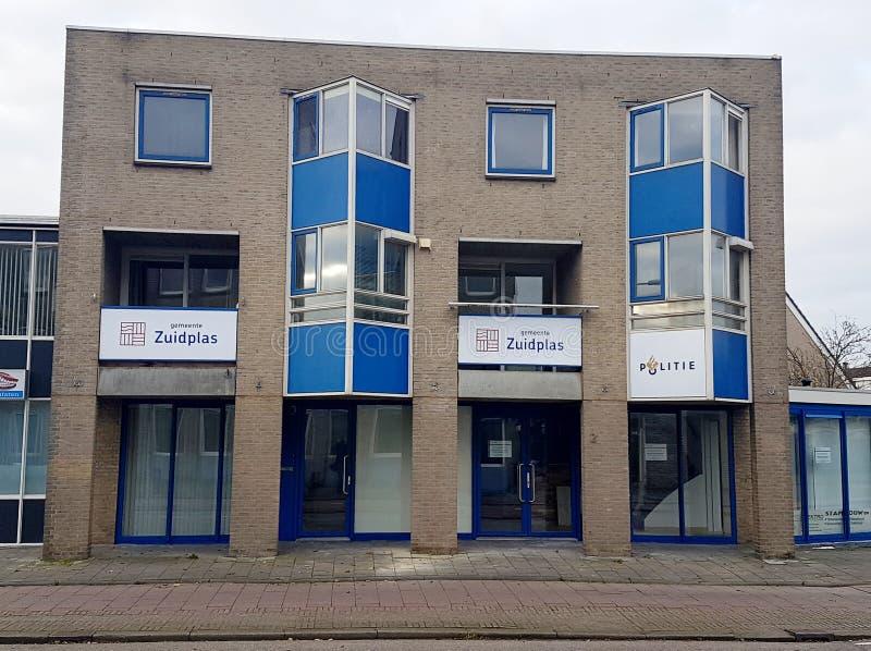 Chwilowy biuro zarząd miasta należny demolishment urzędu miasta budynek Zuidplas obrazy royalty free