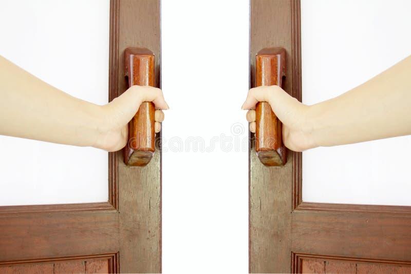 Chwyt rękojeść drewniany drzwi obrazy stock