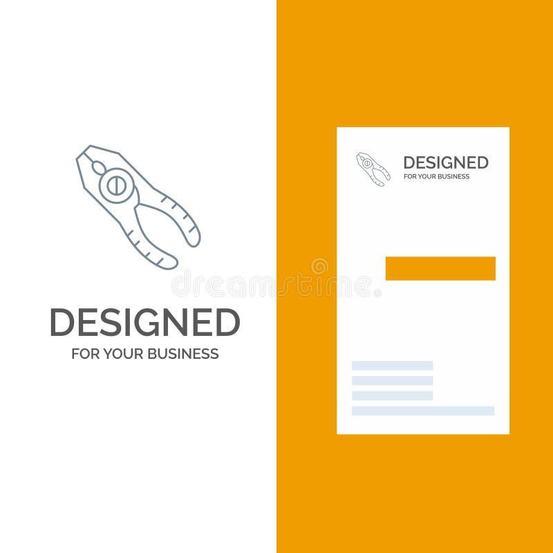 Chwytniki, cążki, Tongs, naprawa, narzędzie logo Popielaty projekt i wizytówka szablon, ilustracja wektor