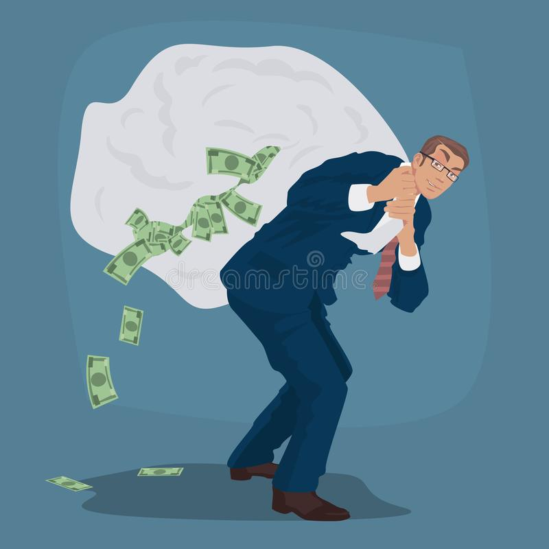 Chytry biznesmen niesie ogromną torbę gotówka pełno ilustracja wektor