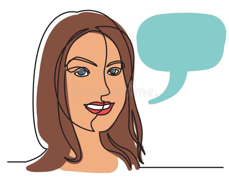Ciągły kreskowy rysunek dosyć uśmiechać się kobiety na białym tle ilustracji