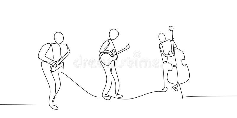 ciągły kreskowy rysunek jazzowy muzyka klasyczna koncerta występ na scenie ilustracji