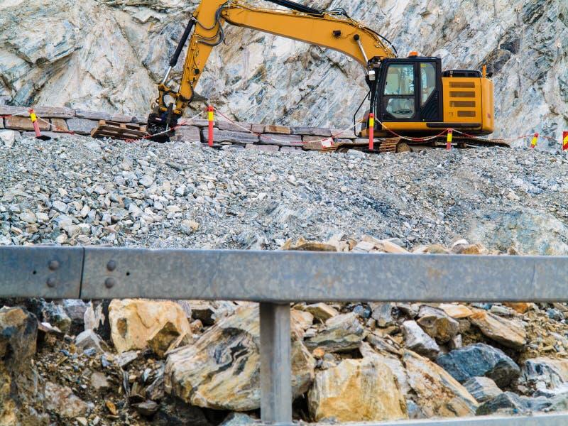 Ciężki maszynowy działanie na budowie, Norwegia zdjęcie stock