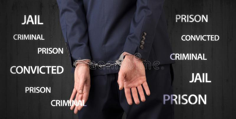 Ciérrese condenado con las etiquetas y las esposas fotos de archivo