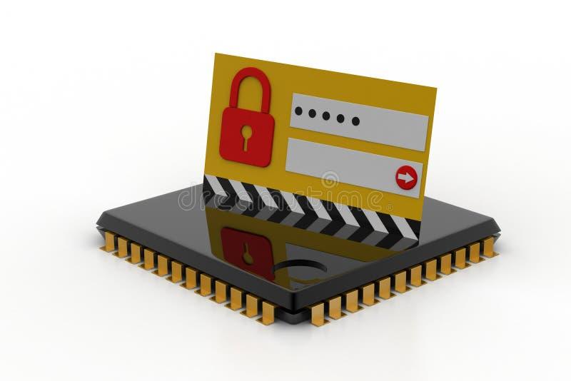 Ciérrese en el chip de ordenador - concepto de la seguridad de la tecnología stock de ilustración