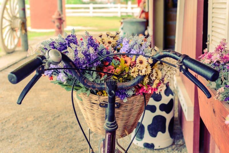 Ciérrese encima de cesta con la flor en la bicicleta fotografía de archivo