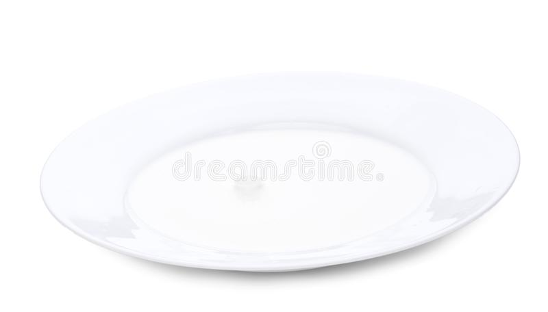 Ciérrese encima de chapoteo de la leche Imagen horizontal del primer, aislada sobre blanco fotos de archivo libres de regalías