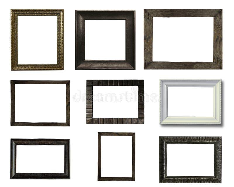 Ciérrese encima de grupo de marco de madera del viejo vintage foto de archivo