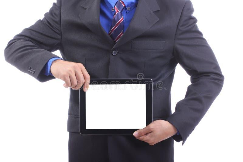 Ciérrese encima de la almohadilla táctil del uso del hombre de negocios imagen de archivo libre de regalías