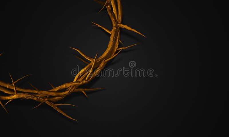Ciérrese encima de la corona del oro de las espinas 3D que rinden el espacio vacío stock de ilustración