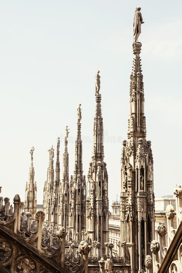 Ciérrese encima de la foto de la catedral de Milán (di Milano), Italia del Duomo fotografía de archivo libre de regalías