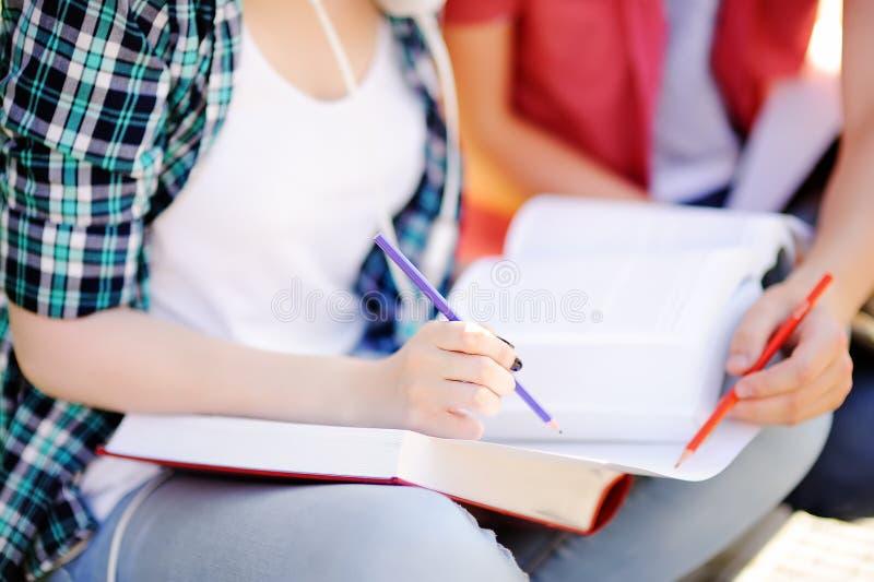 Ciérrese encima de la foto de estudiantes felices jovenes con los libros y las notas al aire libre imagen de archivo