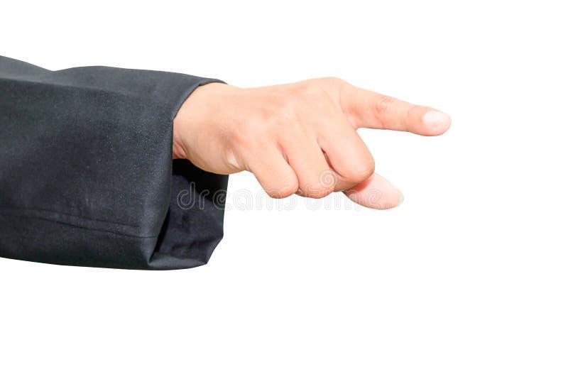 Ciérrese encima de la mano del hombre de negocios que señala las manos aisladas en el fondo blanco fotos de archivo libres de regalías