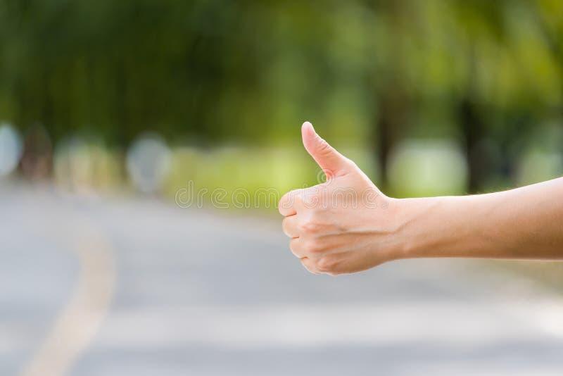 Ciérrese encima de la mano de la mujer que hace autostop en el camino del campo cerca de bosque, imagenes de archivo