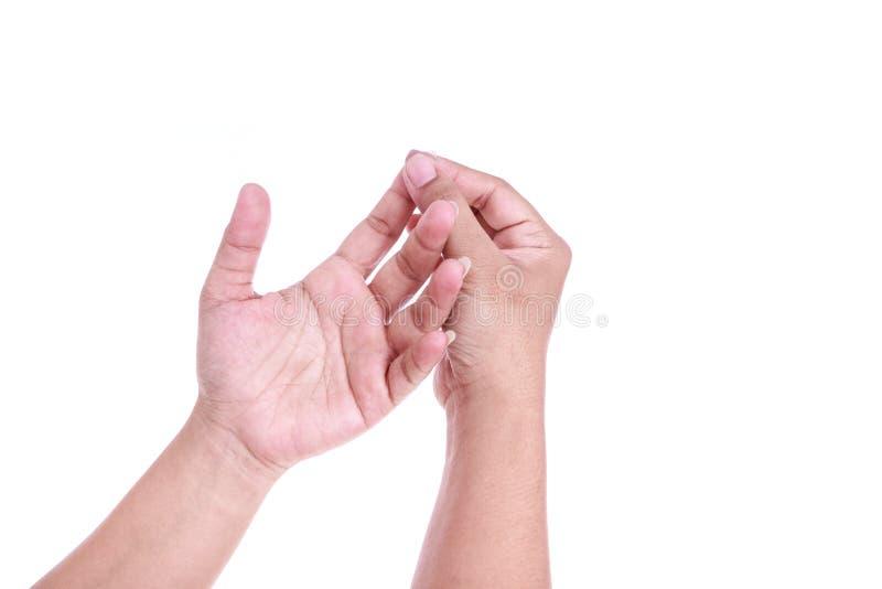Ciérrese encima de la tenencia de la mujer que su mano aisló en blanco Dolor c de la mano fotos de archivo libres de regalías