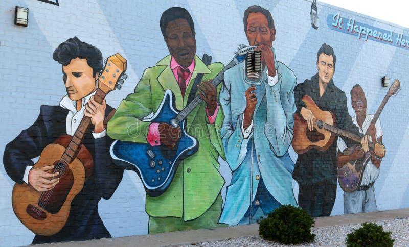 Ciérrese encima de la vista del mural de los azules, Memphis Arkansas del oeste fotografía de archivo