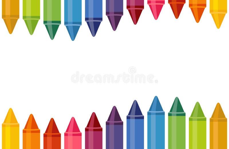 Ciérrese encima de los creyones coloreados con el espacio vacío en el fondo blanco libre illustration