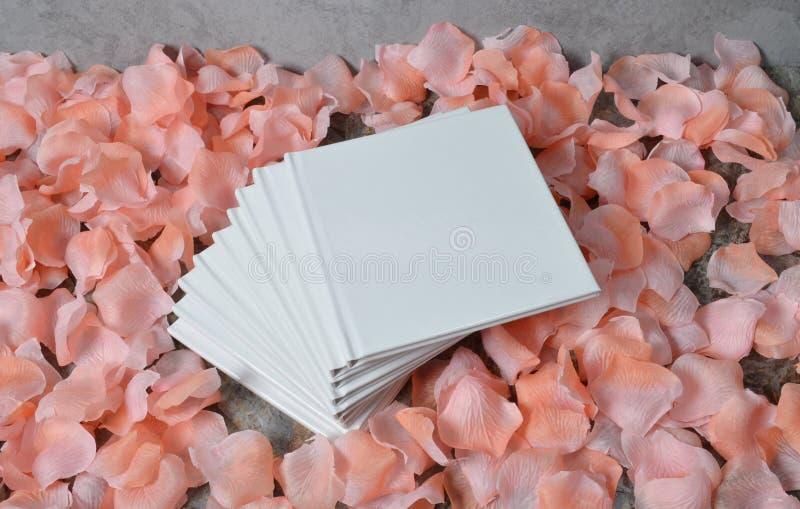 Ciérrese encima de los pétalos color de rosa en el libro blanco imagen de archivo libre de regalías
