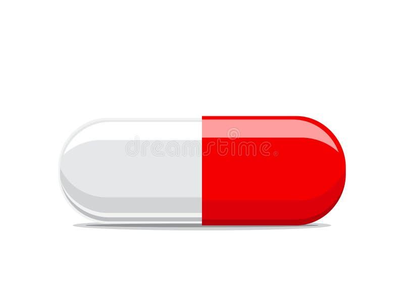Ciérrese encima de píldora en el fondo blanco ilustración del vector