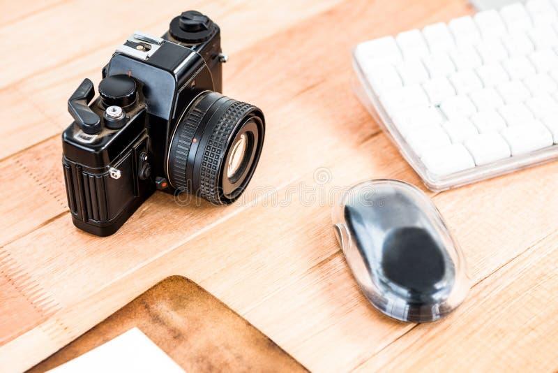 Ciérrese encima de vista de una cámara vieja imagenes de archivo
