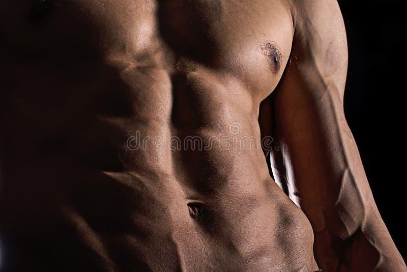 Ciérrese encima del ABS perfecto Torso masculino muscular atractivo seis paquetes imagen de archivo
