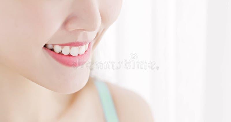 Ciérrese encima del diente de la mujer fotos de archivo