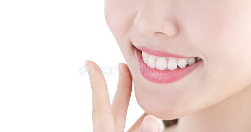 Ciérrese encima del diente de la mujer imagen de archivo