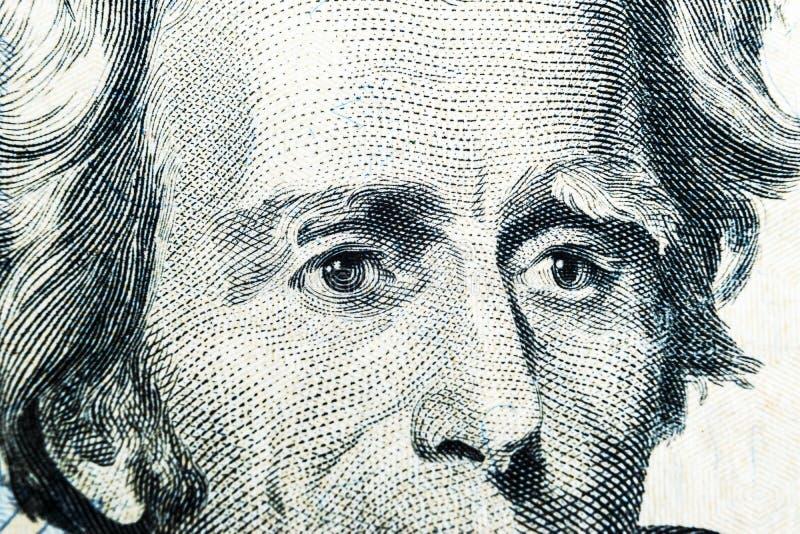 Ciérrese encima del retrato de la visión de Andrew Jackson en el un billete de dólar veinte Fondo del dinero billete de dólar 20  fotos de archivo