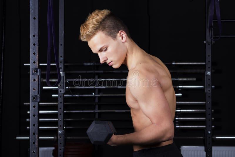 Ciérrese encima del retrato de los pesos de elevación de un hombre joven del ajuste en gimnasio en fondo oscuro fotos de archivo
